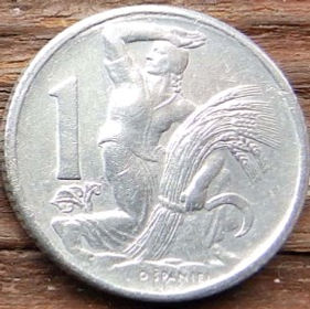 1 Крона, 1950 года,Чехословакия,Монета, Монеты,1 Krone1950, Republika Ceskoslovenska, Жінка,Woman,Женщина, Spikelets, Колоски, Sickle,Серпна монете,Coat of Arms, Герб,Fauna, Фауна,Lion, Левна монете.