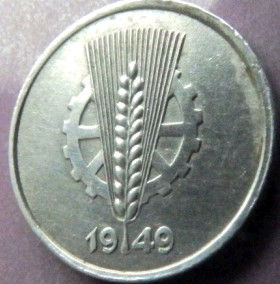 1 Пфенниг,1949 года, ГДР, Германия, Німеччина,Монета, Монеты, 1 Pfennig 1949,Deutschland,Spikelet, Колосок,Gear, Шестерня на монете.
