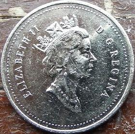 25 Центов, 1993 года,Канада, Монета, Монеты, 25 Cents 1993, Canada,Fauna, Deer, Фауна, Оленьна монете, Королева Elizabeth II, Елизавета IIна монете, Третий портрет королевы.