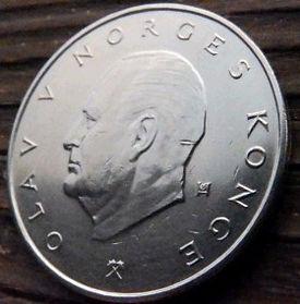 5 Крон, 1979 года, Норвегия, Монета, Монеты, 5 Kroner 1979, Norge, Crown,Корона,Fauna, Фауна, Лев, Lionна монете,Король ОлафV на монете.