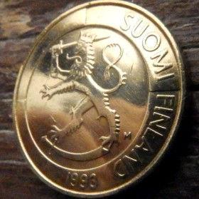 1 Марка, 1993 года, Финляндия, Монета, Монеты, 1 Markka 1993,Suomi, Finland, Coat of Arms,Герб,Fauna, Фауна, Lion with sword, Лев с мечом на монете.