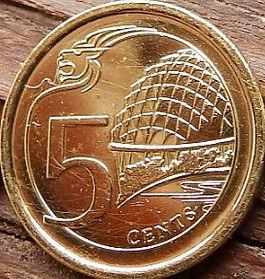 5 Центов, 2013 года, Сингапур, Монета, Монеты, 5 Cents 2013, Singapore, Center for Performing Arts Singapore, Центр Театрального искусства Сингапура на монете, Coat of arms of Singapore, Герб Сингапура на монете.