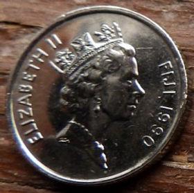 5 Центов, 1990 года,Фиджи, Монета, Монеты, 5Cents1990, Fiji,Lali (Drum),Лали (Барабан) на монете, Королева Elizabeth II, Елизавета IIна монете, Третий портрет королевы.