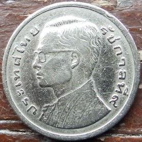 1 Бат, 1977 года, Королевство Таиланд, Монета, Монеты, 1 Bat 1977, Kingdom of Thailand, Ship, Boat, Barge, Корабль, Лодка, Барка на монете, King Rama IX, Король Рама IX на монете.