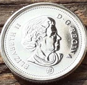 10 Центов, 2007 года,Канада, Монета, Монеты, 10 Cents 2007, Canada,Човен, Яхта, Корабель, Boat, Yacht, Ship, Лодка, Яхта, Корабльна монете, Королева Elizabeth II, Елизавета IIна монете, Четвертый портрет королевы.
