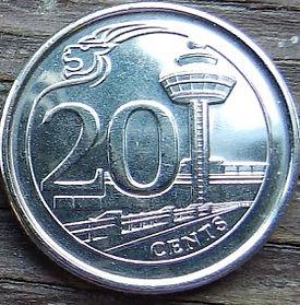 20 Центов, 2014 года, Сингапур, Монета, Монеты, 20 Cents 2014, Singapore, Міжнародний аеропорт Чангі, Singapore Changi Airport, Международный аэропорт Чанги на монете, Coat of arms of Singapore, Герб Сингапура на монете.