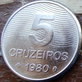 5 Крузейро,1980 года, Бразилия, Монета, Монеты, 5 Cruzeiros 1980, Brasil,FAO, ФАО,Флора,Рослина Кави,Flora, Coffee plant,Флора,Растение Кофена монете.