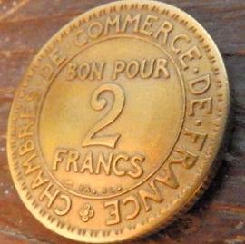 2 Франка, 1922года, Франция,Монета, Монеты, 2Francs 1922,RepubliqueFrancaise, France,BON POUR, Commerce Industrie,Торговая индустрия,Human's figure,Фигура человекана монете.