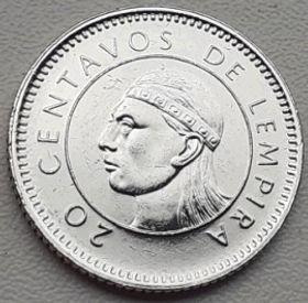 20 Сентаво, 1996 года,Гондурас, Монета, Монеты, 20Centavos 1996,Republica de Honduras,Індіанець,Indian,Индеец на монете, Coat of arms ofHonduras,ГербГондурасана монете.