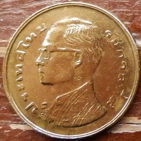 25 Сатангов, 1977 года,Королевство Таиланд, Монета, Монеты, 25 Satang 1977, Kingdom of Thailand, Flora, Spikelets, Флора, Колоски на монете, King Rama IX, Король Рама IX на монете.