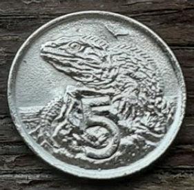 5 Центов, 1969 года,Новая Зеландия, Монета, Монеты, 5Cents1969, New Zealand,Sphenodon,Гаттерия на монете, Королева Elizabeth II, Елизавета IIна монете, Второй портрет королевы.