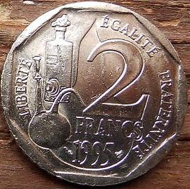 2 Франка, 1995 года, Франция,Монета, Монеты, 2 Francs1995,RepubliqueFrancaise, France,Хімічне устаткування, Chemical equipment, Химическое оборудованиена монете,Louis Pasteur,Луи Пастерна монете.