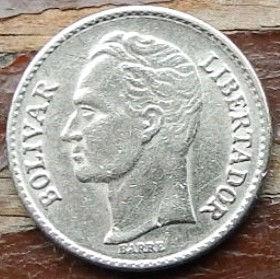 25 Сентимов,1977 года, Венесуэла, Монета, Монеты, 25 Centimos 1977, Republica de Venezuela,Coat of arms of Venezuela,Герб Венесуэлына монете,SimonBolivar,Симон Боливарна монете.