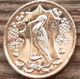 1 Пенни, 1987 года, Остров Мэн, Монета, Монеты, 1 One Penny 1987, Isle of Man, Фауна, Птах, Баклан, Fauna, Bird, Cormorant, Фауна, Птица, Баклан на монете, Королева Elizabeth II, Елизавета II на монете, Третий портрет королевы.