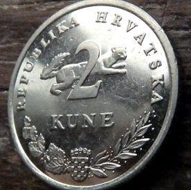 2 Куны, 2005 года,Хорватия,Монета, Монеты,2 Kune 2005, Republika Hrvatska, Coat of Arms,Герб,Рослинний орнамент,растительный орнамент,floral ornament, Fauna, Фауна,Marten, Куницана монете, Tunj,Тунець,Tuna, Тунецна монете.