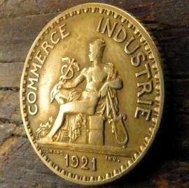 1 Франк, 1921года, Франция,Монета, Монеты, 1Franc 1921,RepubliqueFrancaise, France,BON POUR, Commerce Industrie,Торговая индустрия,Human's figure,Фигура человекана монете.