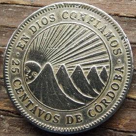 25 Сентаво, 1950 года,Никарагуа, Монета, Монеты, 25 Centavos 1950,Republica de Nicaragua,Захід сонця за гори,Sunset over the mountains,Закат солнца над горами на монете,Чоловік, Man,Мужчинана монете.