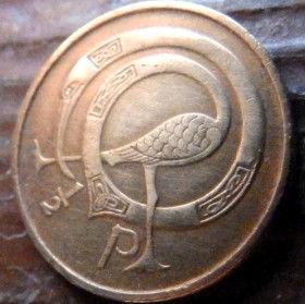 1/2 Пенни, 1971 года, Ирландия, Монета, Монеты,Ireland, 1/2 P, Penny 1971, Eire,Bird, Птица на монете,Harp,Арфа на монете.