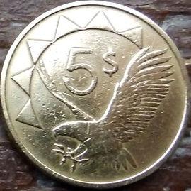 5 Долларов, 1993 года, Намибия,Монета, Монеты, 5 Dollars1993, Republic of Namibia,Фауна, Пташка, Орлан-білохвіст, Fauna, Bird, White-tailed Eagle,Фауна, Птица, Орлан-белохвост на монете, Coat of arms of Namibia,Герб Намибиина монете.