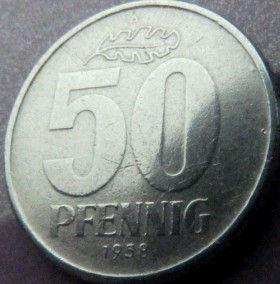 50 Пфеннигов,1958 года, ГДР, Германия, Німеччина,Монета, Монеты, 50 Pfennig 1958,DDR,Spikelets, Колоски,Hammer, Молоток на монете.