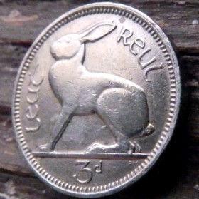 3 Пенса, 1942 года, Ирландия, Монета, Монеты,Ireland, 3 d, Pence 1942, Eire, Тварина, Animal, Животное,Заєць Нare,Заяц,Кроликна монете,Harp,Арфа на монете.