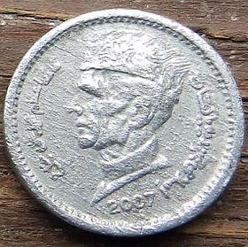 1 Рупия, 2007 года,Пакистан, Монета, Монеты, 1Rupee 2007, Pakistan, Mausoleum of Shahbaz Kalandar, Мавзолей Шахбаз Каландарна монете,Muhammad Ali Jinnah, Мухаммед Али Джинна на монете.