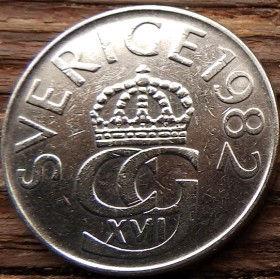 5 Крон 1982 года, Швеция, Монета, Монеты, 5 Kronor 1982, Sverige, Sweden,Crown,Корона,Monogram, ВензельКороляКарлаXVI Густава на монете.