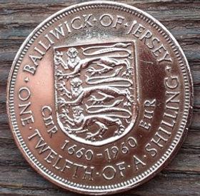 1/12 Шиллинга, 1960 года, Джерси, Монета, Монеты, One Twelfthof a Shilling 1960, Jersey,Coat of Arms,Герб,Fauna, Фауна,Lions, Львы на монете,Королева Elizabeth II, Елизавета IIна монете, Второй портрет королевы.