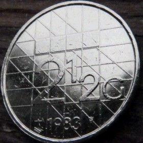 2½, 2,50Гульдена, 1983 года, Нидерланды, Монета, Монеты, 2½, 2,50 Guldens 1983, NEDERLAND,Королева Беатрікс на монете.