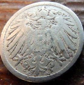 5 Пфеннигов,1899 года, Германия, Німеччина,Монета, Монеты, 5 Pfennig 1899,Deutsches Reich, Coat of arms,Герб,Корона, Crown, Fauna, Фауна, Пташка, Bird,Птица, Eagle, Орел на монете.