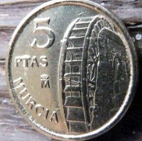 5 Песет, 1999 года, Испания, Монета, Монеты, 5Pesetas 1999, Espana,Spain, Murcia,Мурсия,Water Mill,Водяная мельница на монете, Arch, Арка,Coat of arms, Герб на монете.