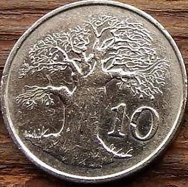 10 Центов, 1994 года, Зимбабве,Монета, Монеты, 10 Cents 1994, Zimbabwe,Flora, Tree, Baobab,Флора, Дерево, Баобабна монете, Bird of Zimbabwe,Птица Зимбабвена монете.