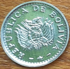 2 Сентаво, 1987 года, Боливия, Монета, Монеты, 2 Centavos 1987, Republica de Bolivia, Coat of arms of Bolivia, Герб Боливии на монете.