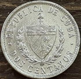 2 Сентаво, 1983 года, Куба, Монета, Монеты, 2 Dos Centavos 1983, Republica De Cuba,Зірка,Star,Звездана монете, Coat of arms of Cuba, Герб Кубы на монете.