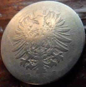 10 Пфеннигов,1889 года, Германия, Німеччина,Монета, Монеты, 10 Pfennig 1889,Deutsches Reich, Coat of arms,Герб,Корона, Crown, Fauna, Фауна, Пташка, Bird,Птица, Eagle, Орел на монете.