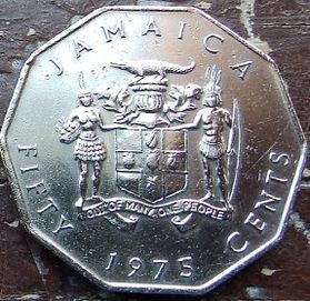 50 Центов, 1975 года, Ямайка, Монета, Монеты, 50 Fifty Cents 1975, Jamaica,Coat of arms ofJamaica, Герб Ямайкина монете, Marcus Garvey,Маркус Гарвина монете.
