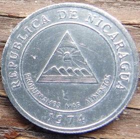 5 Сентаво, 1974 года,Никарагуа, Монета, Монеты, 5 Cinco Centavos 1974,Republica de Nicaragua, Coat of arms ofNicaragua,ГербНикарагуана монете.