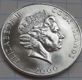 5 Центов, 2000 года, ОстровыКука, Монета, Монеты, 5Cents 2000, Cook Islands, FAO, ФАО, Tangaroa, Тангароа на монете, Королева Elizabeth II, Елизавета II на монете, Четвертыйпортрет королевы.