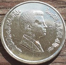 10 Пиастров, 2009 года, Иордания, Монета, Монеты, 10 Ten Piastres 2009, The Hashemite Kingdom of Jordan,Abdullah II bin Hussein, Абдалла ибн Хусейн на монете.