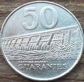 50 Гуарани,1988 года, Парагвай, Монета, Монеты, 50 Guaranies1988, Republica Del Paraguay, Гребля, Електростанція, Dam, Power plant, Плотина, Электростанцияна монете,Jose Felix Estigarribia, Хосе Феликс Эстигаррибияна монете.