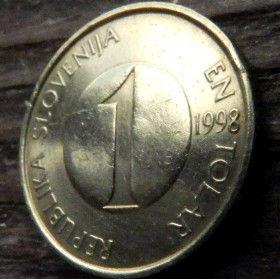 1 Толар, 1998года,Словения,Монета, Монеты,1 En Tolar 1998, Republika Slovenija,Fauna, Фауна, Fish, Рыба, Trout,Форельна монете.