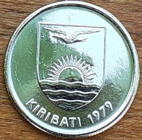 5 Центов, 1979 года, Кирибати, Монета, Монеты, 5 Cents 1979, Kiribati, Fauna, Gecko, Фауна, Геккон на монете, Coat of arms of Kiribati, Герб Кирибати на монете.