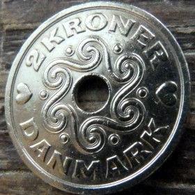2 Кроны, 1994 года, Дания, Монета, Монеты, 2 Kroner1994, Danmark,Crown,Корона,Heart,Сердечко,ВензельКоролевы МаргретыII на монете,Монета с отверстием посередине.