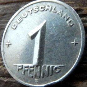 1 Пфенниг,1952 года, ГДР, Германия, Німеччина,Монета, Монеты, 1 Pfennig 1952,Deutschland,Spikelets, Колоски,Hammer, Молоток на монете.