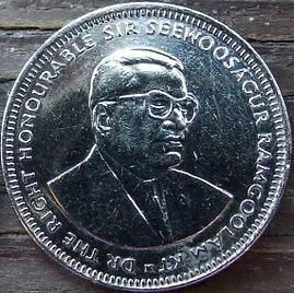 1 Рупия, 2010 года, Маврикий,Монета, Монеты, 1 OneRupee 2010, Mauritius,Coat of arms of Mauritius,Герб Маврикияна монете,Seewoosagur Ramgoolam, Сивусагур Рамгуламна монете.