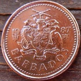1 Цент, 1987 года, Барбадос, Монета, Монеты, 1 One Cent1987, Barbados,Тризуб з прапора Барбадосу, Trident from the flag of Barbados, Трезубец с флага Барбадоса на монете, Coat of arms ofBarbados, Герб Барбадосуна монете.