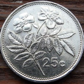 25 Центов, 1986 года, Мальта, Монета, Монеты, 25 Cents 1986, Malta, Flora,Флора,Шипшина,Dog-rose,Шиповникна монете,Sea, Море,Човен,Boat,Лодка, Sun,Cолнцена монете.