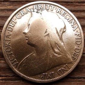 1 Пенни, 1896года,Великобритания, Монета, Монеты, One Penny 1896, Море, Sea, Жінка воїн,Woman warrior, Женщина воин на монете, Королева Вікторія,Victoria, Виктория на монете.