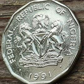 50 Кобо, 1991 года, Нигерия,Монета, Монеты, 50 Kobo 1991, Federal Republic ofNigeria, Flora, Corn,Флора, Кукуруза на монете, Coat of arms of Nigeria,Герб Нигериина монете.