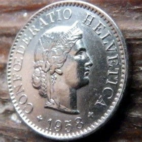 5 Раппен,1958 года, Швейцария,Монета, Монети,5 Rappens1958, Confederatio Helvetica, Швейцарія, Switzerland,Рослинний орнамент, Растительныйорнамент,Floral ornamentна монете, Дівчина, Girl, Девушка на монете.